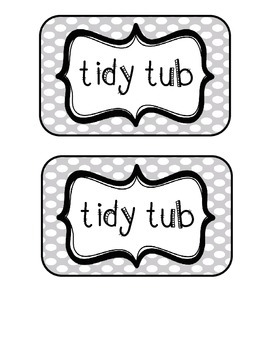 """Tidy Tubs"" Table - Grouped Desks Labels - Gray Polka Dots"