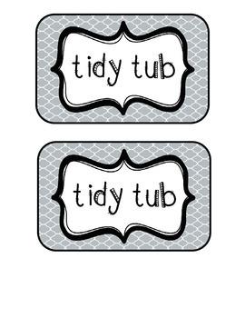 """""""Tidy Tubs"""" Table - Grouped Desks Labels - Gray Quatrefoil"""