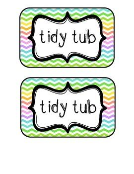 """""""Tidy Tubs"""" Table - Grouped Desks Labels - Neon Chevron"""