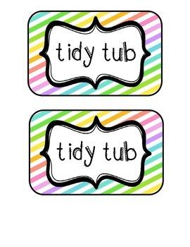 """Tidy Tubs"" Table - Grouped Desks Labels - Neon Diagonal Stripes"