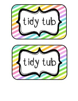 """Tidy Tubs"" Table - Grouped Desks Labels - Neon Diagonal Stripes"