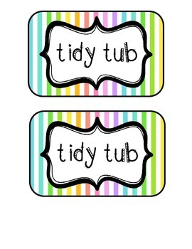 """Tidy Tubs"" Table - Grouped Desks Labels - Neon Stripes"