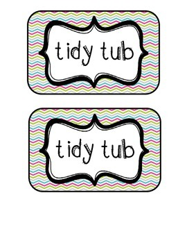 """""""Tidy Tubs"""" Table - Grouped Desks Labels - Pretty Chevron"""
