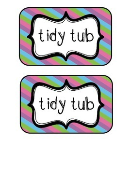 """Tidy Tubs"" Table - Grouped Desks Labels - Pretty Diagonal Stripes"