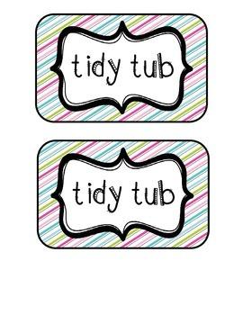 """Tidy Tubs"" Table - Grouped Desks Labels - Pretty Diagonal Stripes"