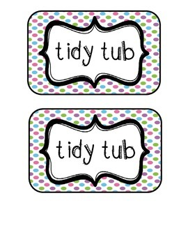 """Tidy Tubs"" Table - Grouped Desks Labels - Pretty Polka Dots"