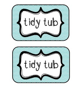 """""""Tidy Tubs"""" Table - Grouped Desks Labels - Turquoise Chevron"""
