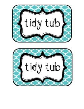 """""""Tidy Tubs"""" Table - Grouped Desks Labels - Turquoise Quatrefoil"""