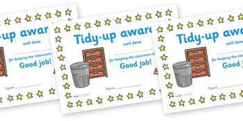 Tidy Up Award Certificate