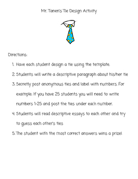 Mr. Tanen's Tie Design Descriptive Writing Collaborative Activity