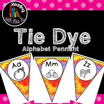 Tie Dye Alphabet Pennant Banner Bunting