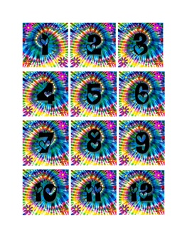 Complete Tie Dye Calendar Set Black Letters (months, days, awards)