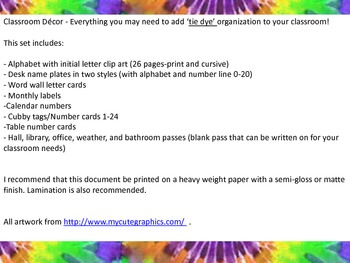 Tie Dye Classroom Decor Organization Set 54 pages