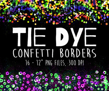 Tie Dye Confetti Border Overlays Clip Art - 16 PNG Files