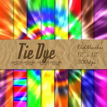 Tie Dye Digital Paper Pack - 16 Different Papers - 12inx12in