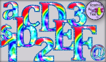Tie Dye Letters and Numbers Set 1