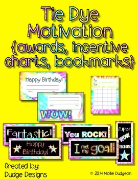 Tie Dye Themed Motivational Pieces - Awards, Incentive Charts, and Bookmarks