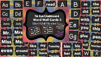 Tie Dye Word Wall Words and Headers