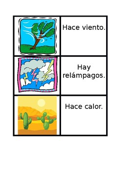 Tiempo (Weather in Spanish) Vocabulary Concentration games