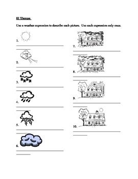 Tiempo (Weather in Spanish) worksheet