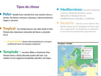 Tiempo y Clima Power Point/ Weather and Climate (SPANISH)