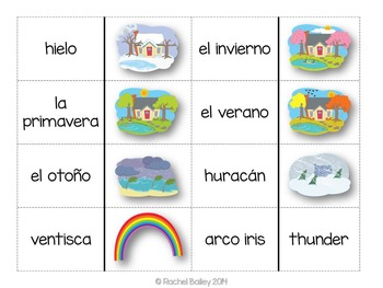 Tiempo y Estaciones Domino Game - Weather and Seasons Dominoes