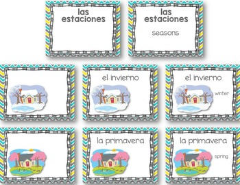 Tiempo y Estaciones Powerpoint - Pictures and Vocab List (Weather and Seasons)
