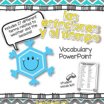 Tiempo y Estaciones Powerpoint - Pictures and Vocab List (