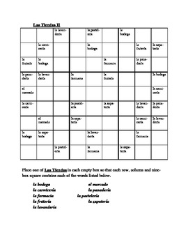 Tiendas (Stores in Spanish) Sudoku