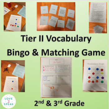 Tier 2 Second and Third Grade Vocabulary - Bingo & Matching Activities