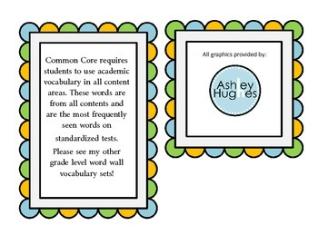 Tier 2 (Two) Common Core Academic Vocabulary Word Wall 6th Grade