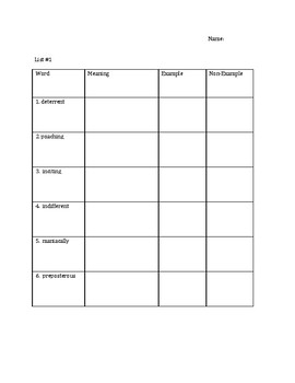 Tier 2 Vocabulary Analogy and Context Clue Activities and Assessments Week 1