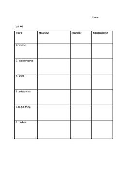 Tier 2 Vocabulary Analogy and Context Clue Activities and Assessments Week 4