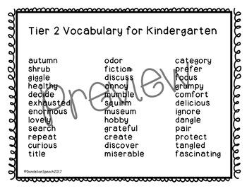 Tier 2 Vocabulary Kindergarten