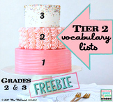 Tier 2 Vocabulary Lists Grades 2 & 3 | FREEBIE!