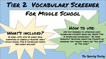 Tier 2 Vocabulary Screener for Middle School with 5th and 6th Flocabulary words