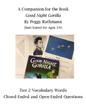 """Tier 2 Vocabulary Words and Wh-Questions for """"Good Night Gorilla"""""""