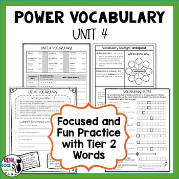 Tier 2 Vocabulary and Activities | Academic Vocabulary Word Work | Unit 4