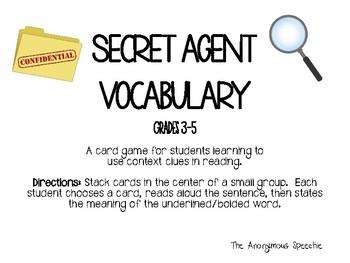 Secret Agent Tier 2 Vocabulary Grades 3-5