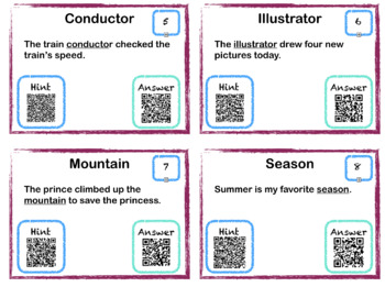 Tier Two Vocabulary Cards with QR Scanner