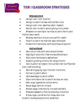 Tier I Classroom Strategies List