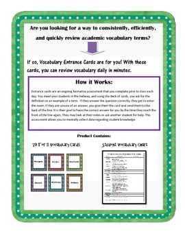 Tier II Academic Vocabulary for 11th and 12th Grade: Entrance Cards