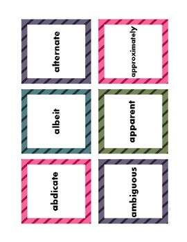 Tier II Academic Vocabulary for 9th and 10th Grade: Entrance Cards