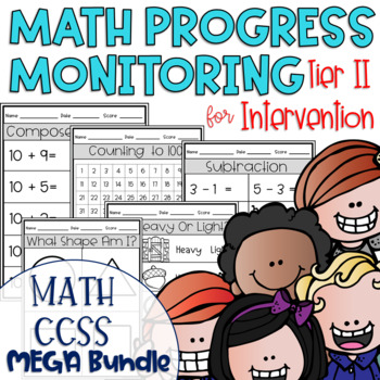 Tier II Math Intervention Progress Monitoring Kit All CCSS MEGA Bundle {Kinder}