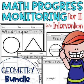 Tier II Math Intervention Progress Monitoring Kit; Geometry BUNDLE {Kinder}