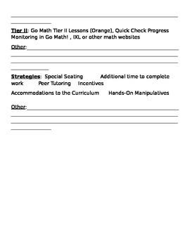 Tier II RtI Math Documentation Sheet