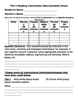 Tier II RtI Reading Documentation Sheet