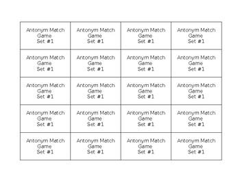 Tier II Vocabulary Antonym Match game (2 sets) 3rd grade