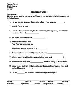 FREE! Tier II Vocabulary Quiz Week 1