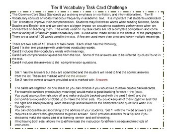 Tier II Vocabulary Task Card Challenge I